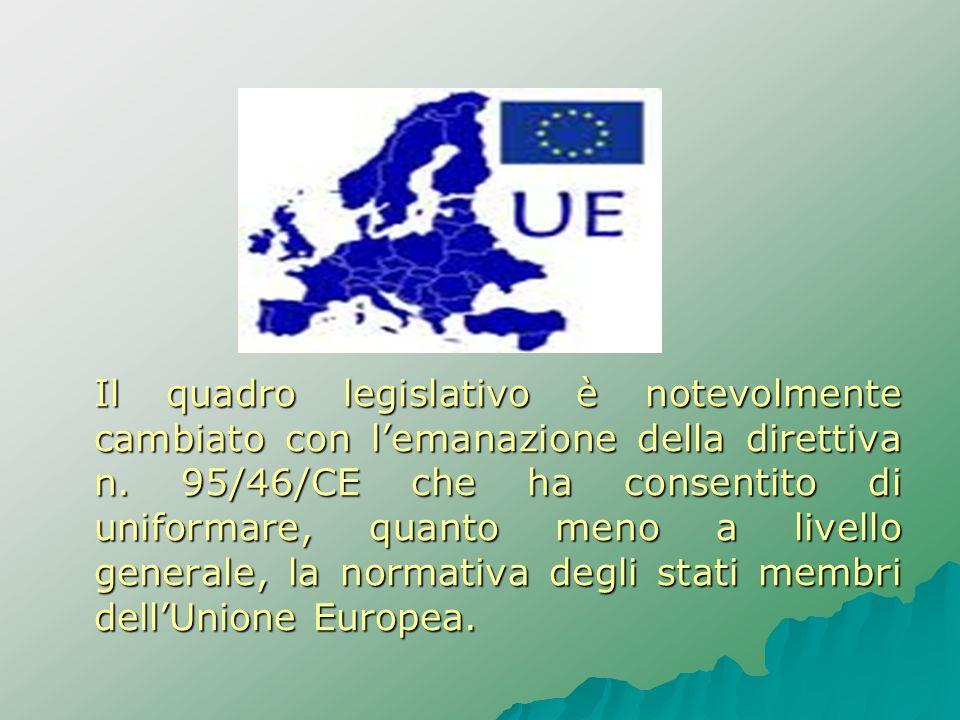 Il quadro legislativo è notevolmente cambiato con l'emanazione della direttiva n.