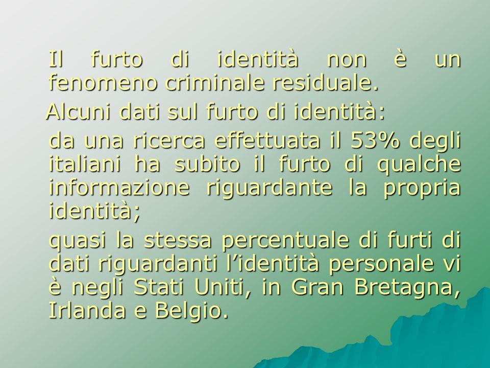 Il furto di identità non è un fenomeno criminale residuale.