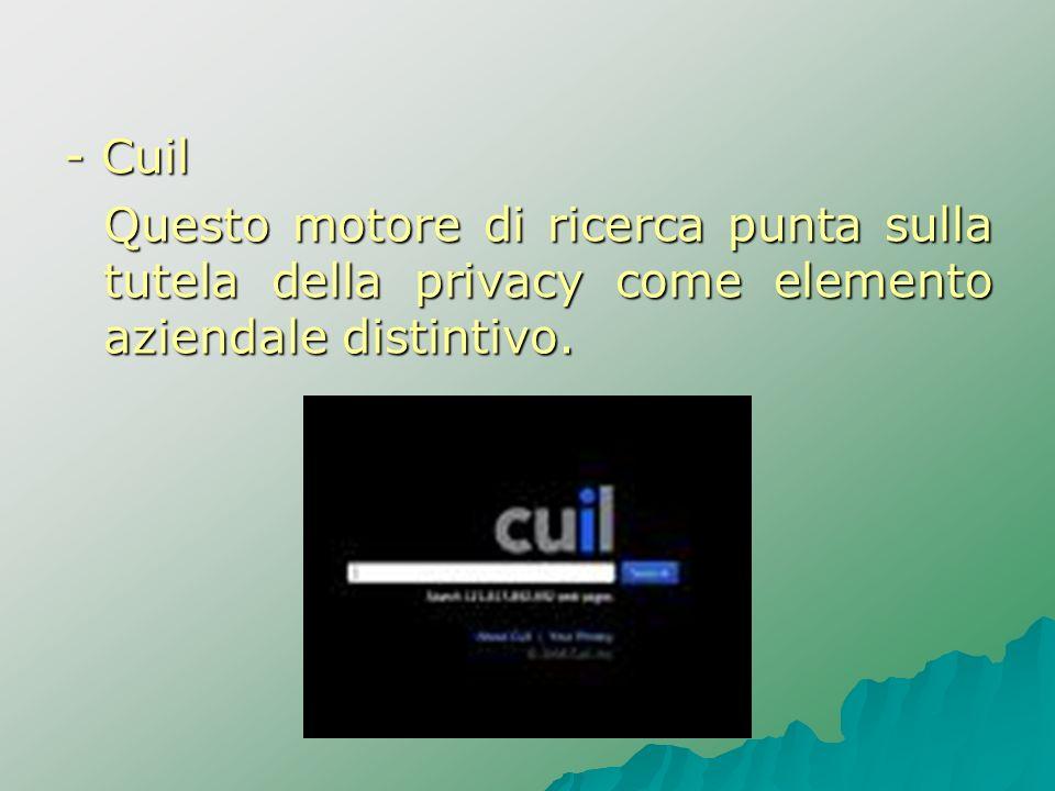 - CuilQuesto motore di ricerca punta sulla tutela della privacy come elemento aziendale distintivo.