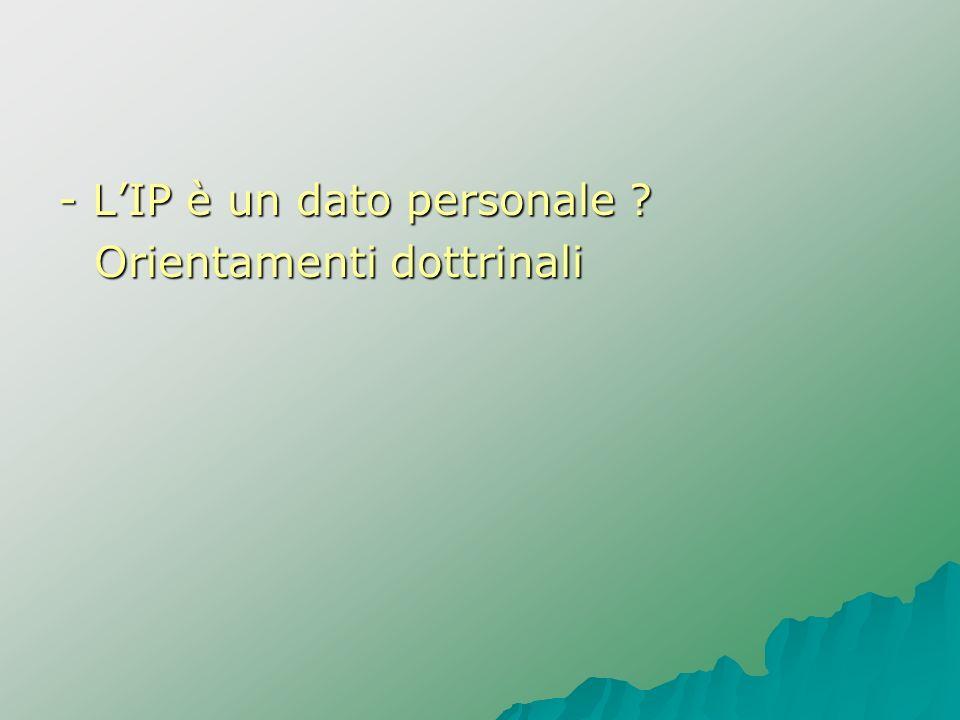 - L'IP è un dato personale