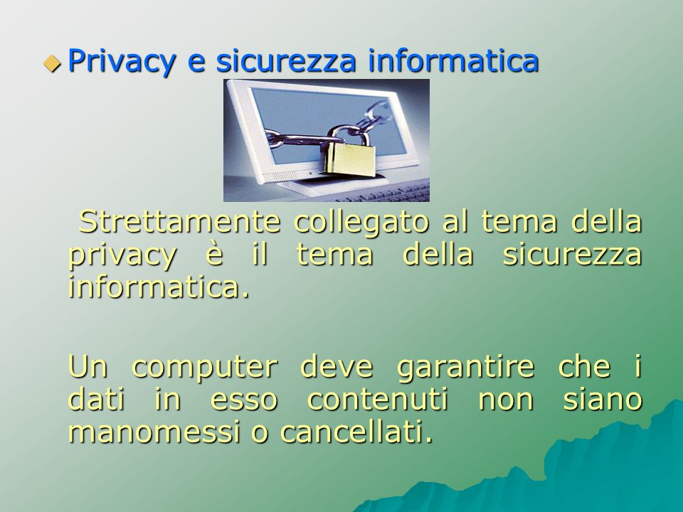 Privacy e sicurezza informatica