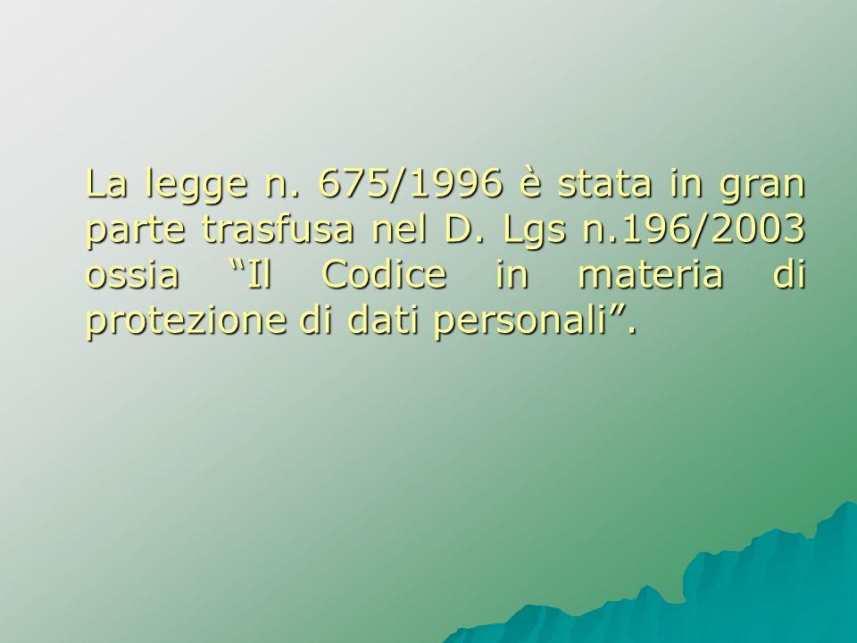 La legge n. 675/1996 è stata in gran parte trasfusa nel D. Lgs n
