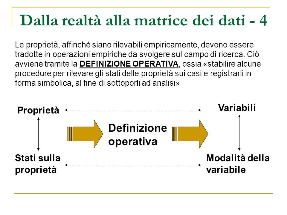 Dalla realtà alla matrice dei dati - 4