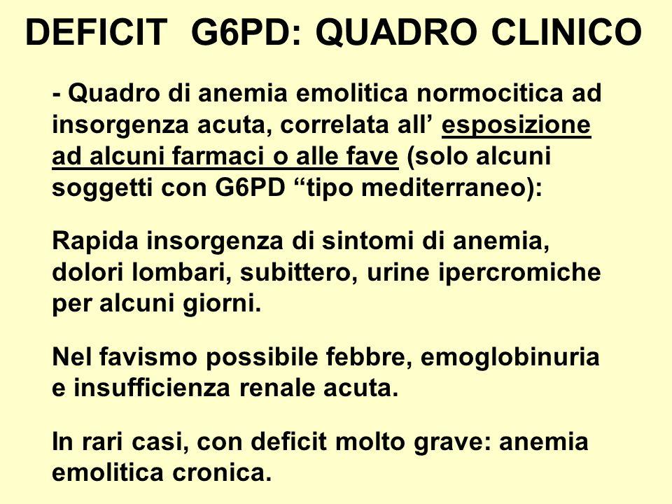 DEFICIT G6PD: QUADRO CLINICO