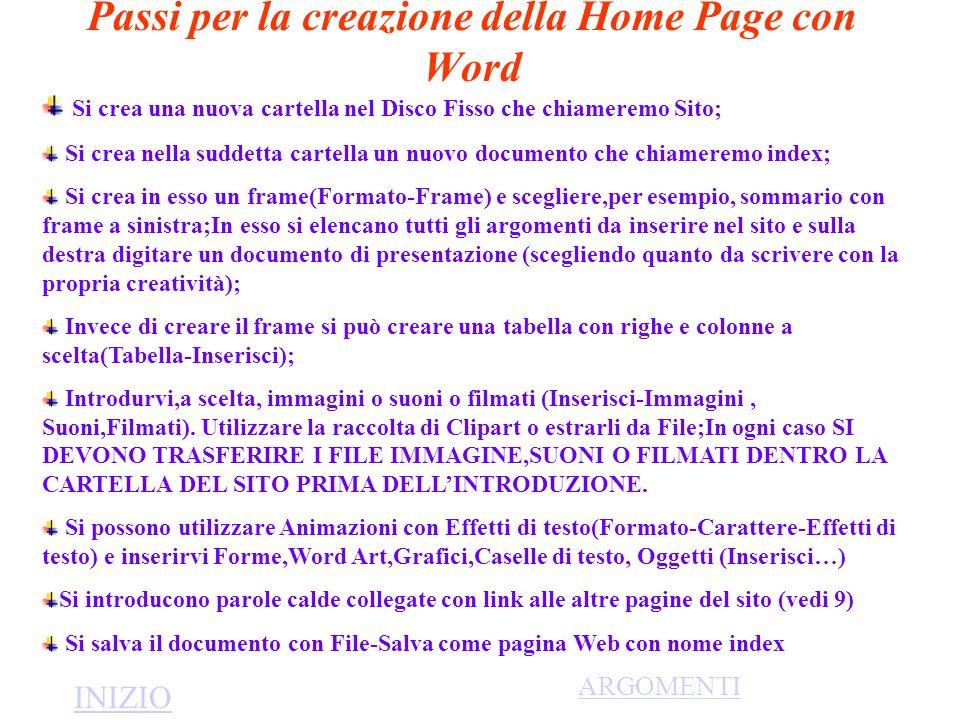 Passi per la creazione della Home Page con Word