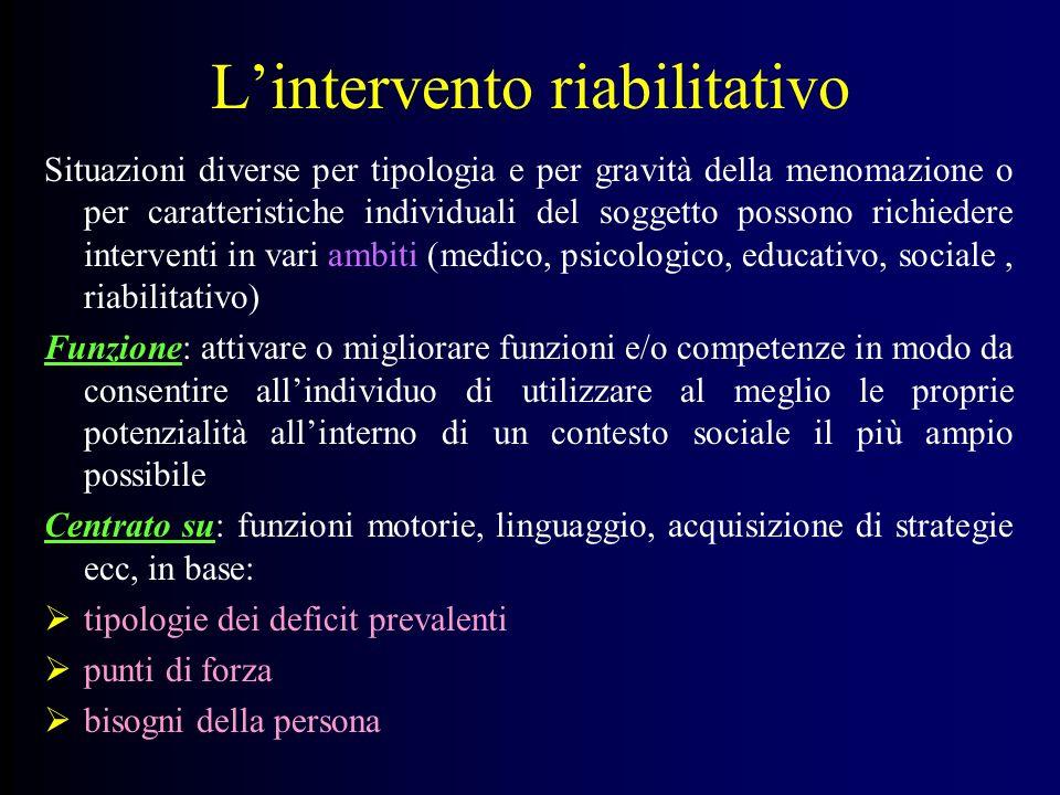 L'intervento riabilitativo