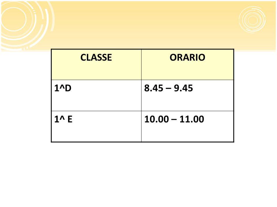 CLASSE ORARIO 1^D 8.45 – 9.45 1^ E 10.00 – 11.00