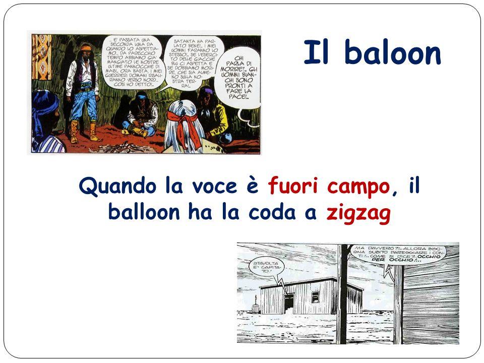 Quando la voce è fuori campo, il balloon ha la coda a zigzag
