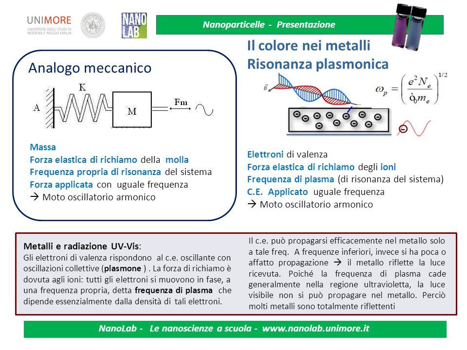 Il colore nei metalli Risonanza plasmonica Analogo meccanico Massa