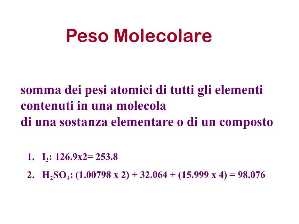 Peso Molecolare somma dei pesi atomici di tutti gli elementi contenuti in una molecola. di una sostanza elementare o di un composto.