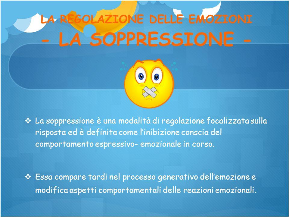 LA REGOLAZIONE DELLE EMOZIONI - LA SOPPRESSIONE -