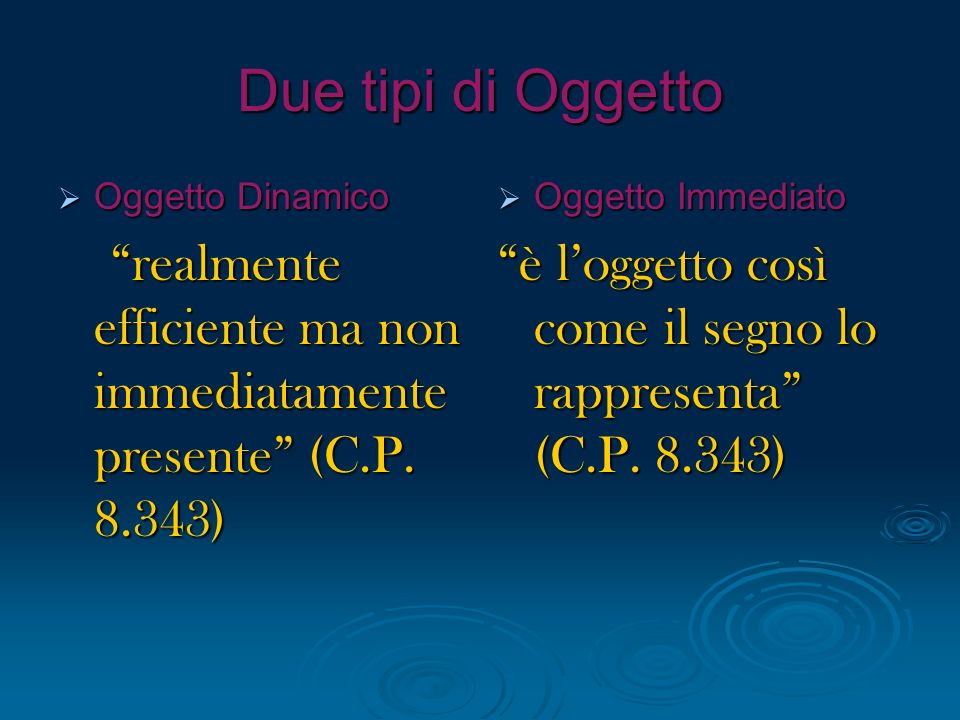 Due tipi di Oggetto Oggetto Dinamico. realmente efficiente ma non immediatamente presente (C.P. 8.343)
