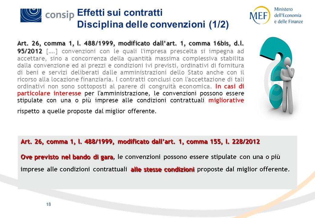 Effetti sui contratti Disciplina delle convenzioni (1/2)