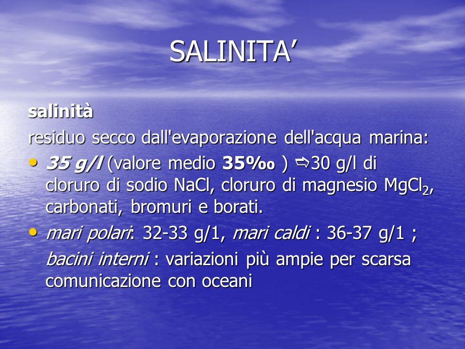 SALINITA' salinità residuo secco dall evaporazione dell acqua marina:
