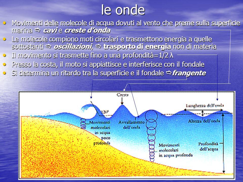 le onde Movimenti delle molecole di acqua dovuti al vento che preme sulla superficie marina  cavi e creste d'onda.