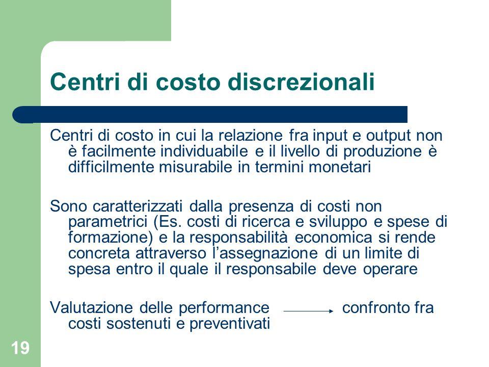 Centri di costo discrezionali