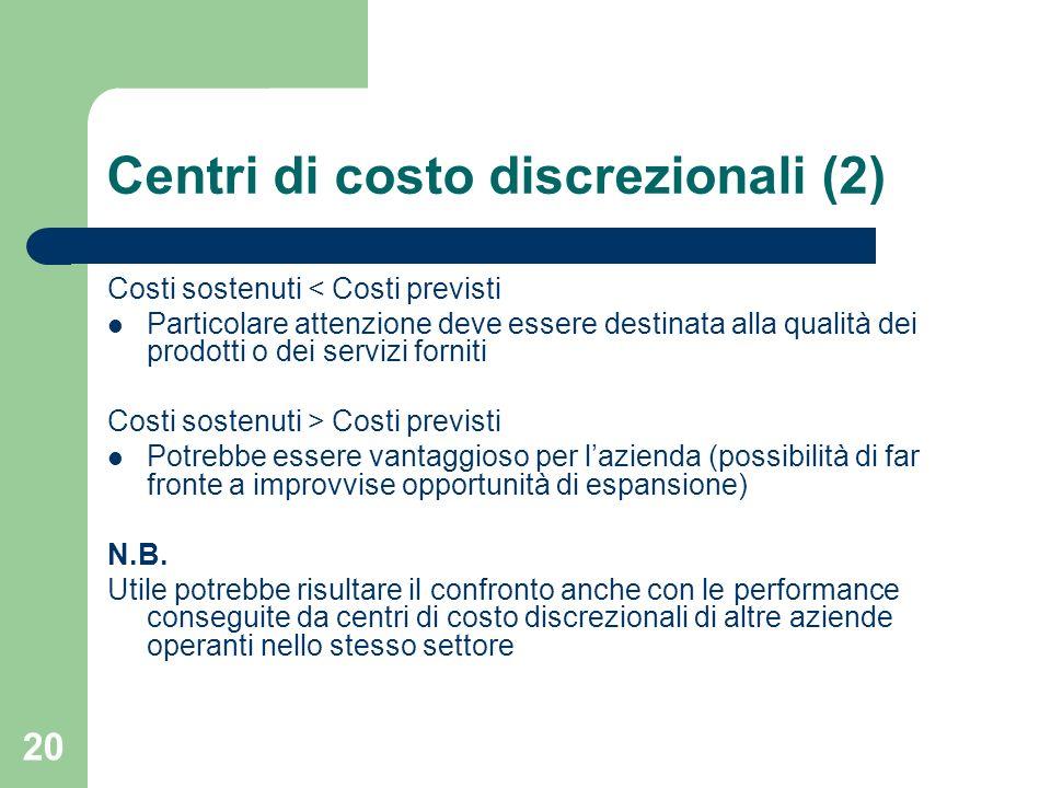 Centri di costo discrezionali (2)