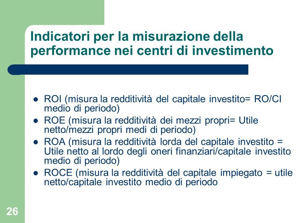 Indicatori per la misurazione della performance nei centri di investimento