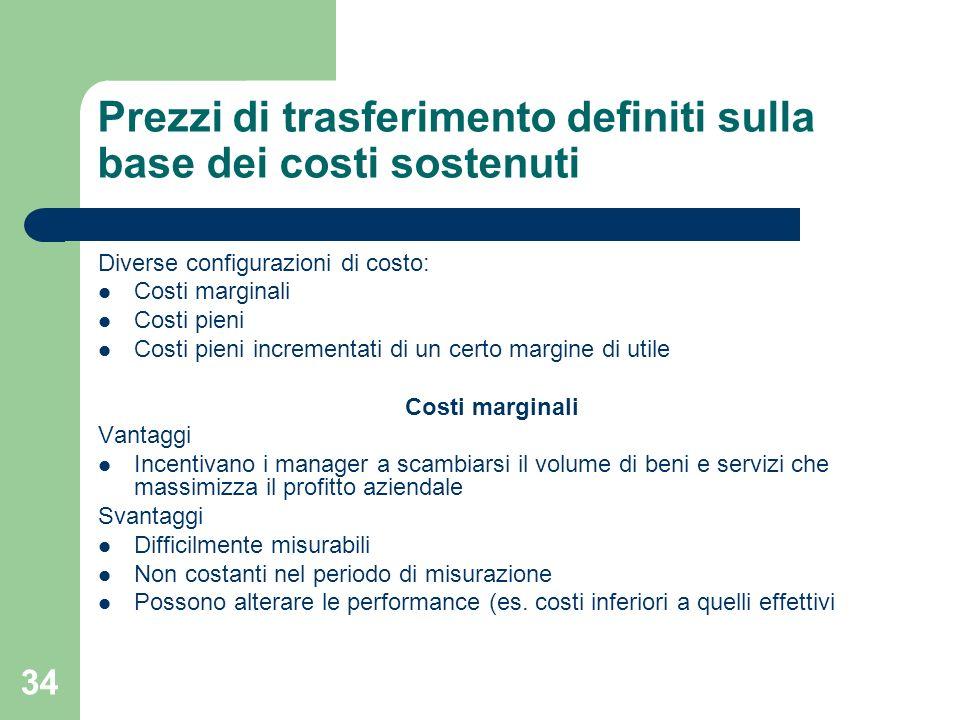 Prezzi di trasferimento definiti sulla base dei costi sostenuti