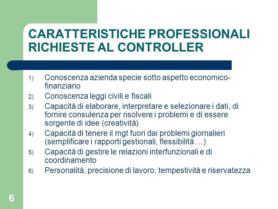 CARATTERISTICHE PROFESSIONALI RICHIESTE AL CONTROLLER