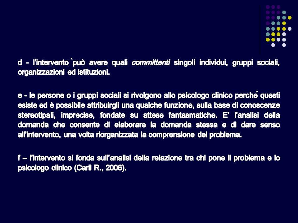 d - l'intervento ̀può avere quali committenti singoli individui, gruppi sociali, organizzazioni ed istituzioni.