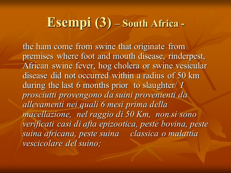 Esempi (3) – South Africa -