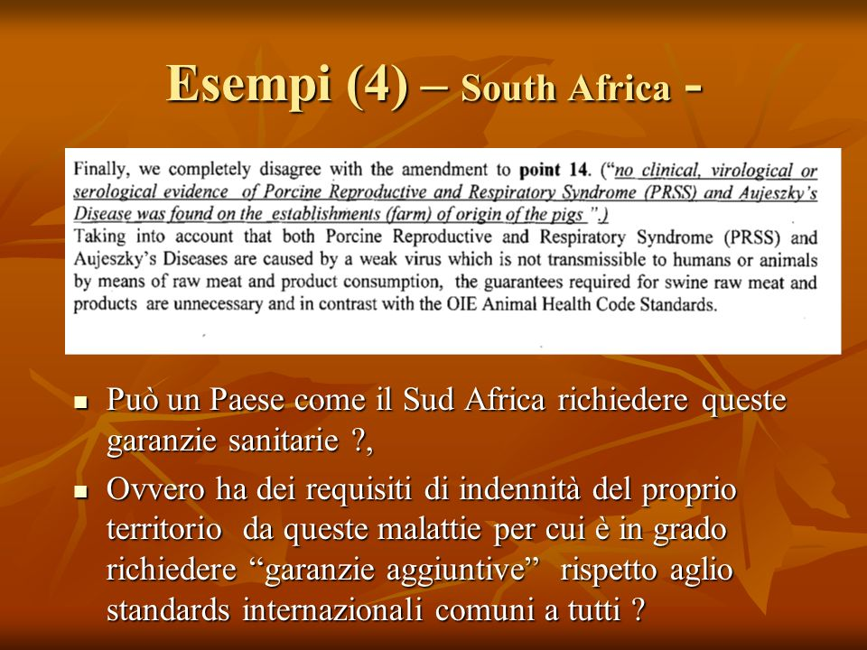 Esempi (4) – South Africa -