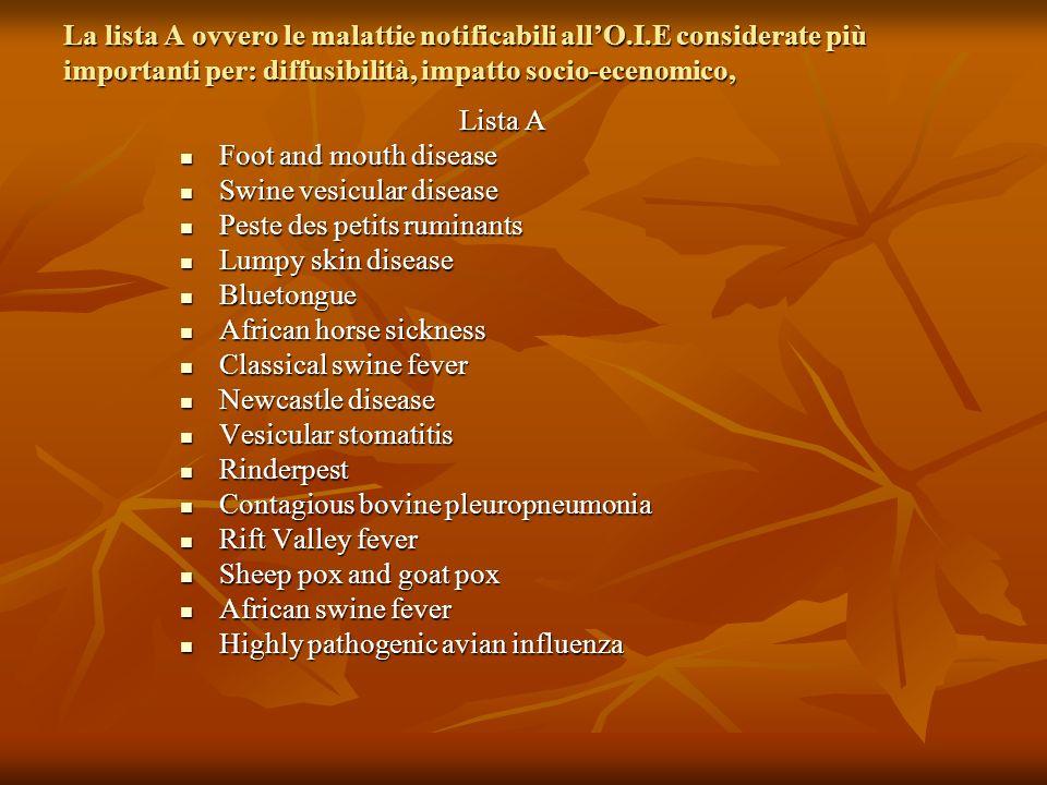 La lista A ovvero le malattie notificabili all'O. I