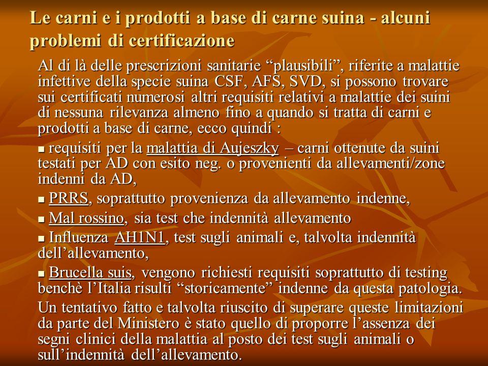 Le carni e i prodotti a base di carne suina - alcuni problemi di certificazione