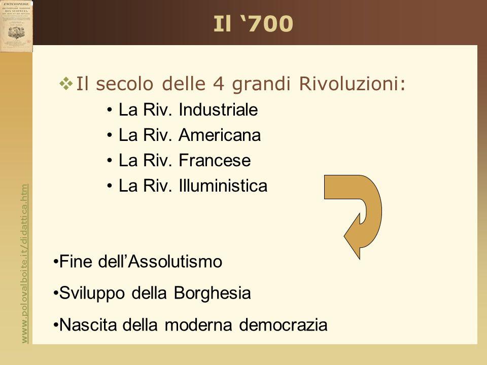 Il '700 Il secolo delle 4 grandi Rivoluzioni: La Riv. Industriale