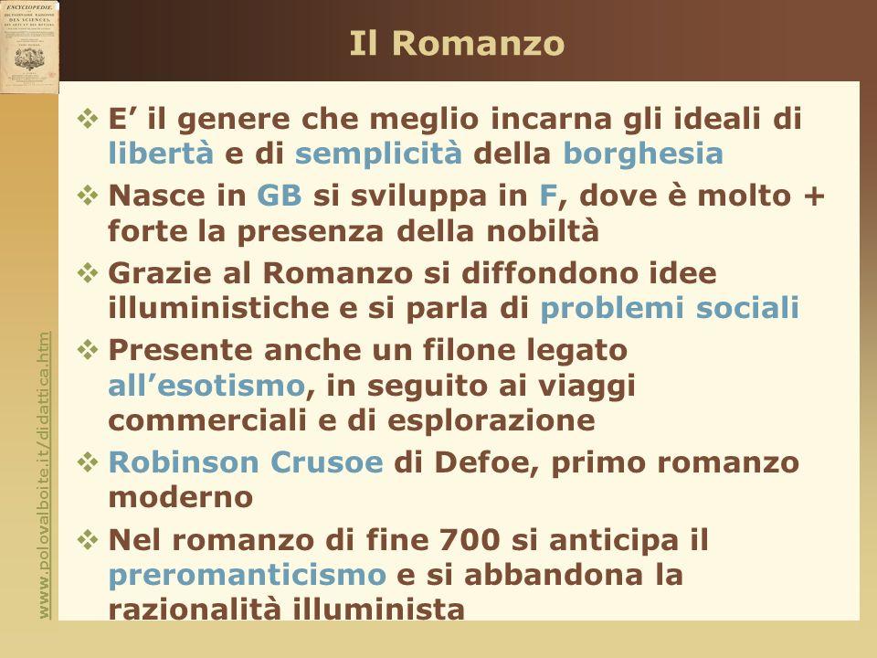 Il Romanzo E' il genere che meglio incarna gli ideali di libertà e di semplicità della borghesia.
