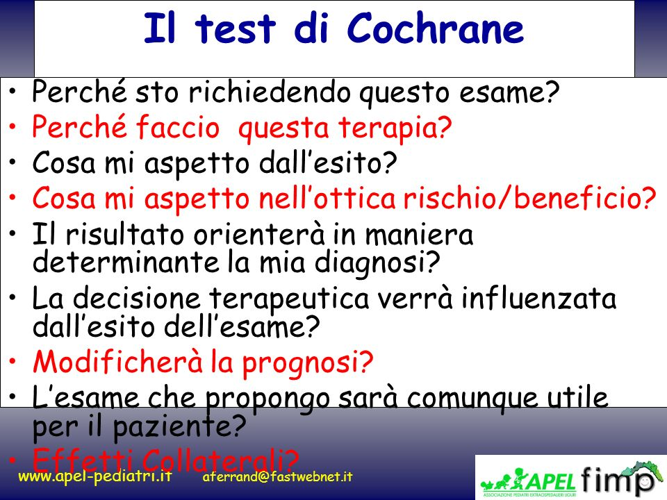 Il test di Cochrane Perché sto richiedendo questo esame