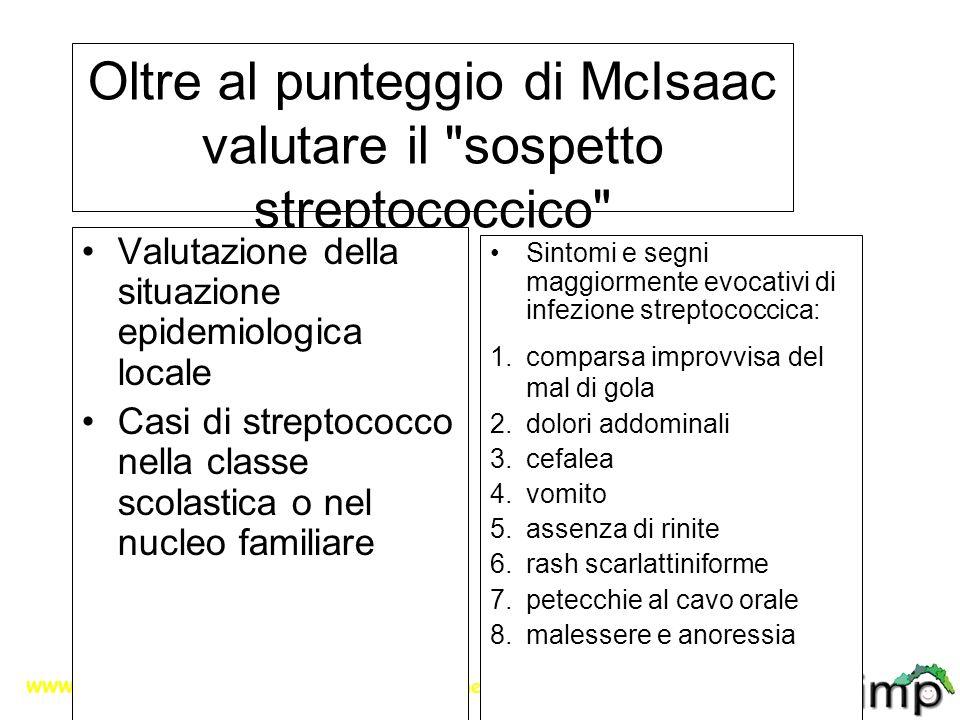 Oltre al punteggio di McIsaac valutare il sospetto streptococcico