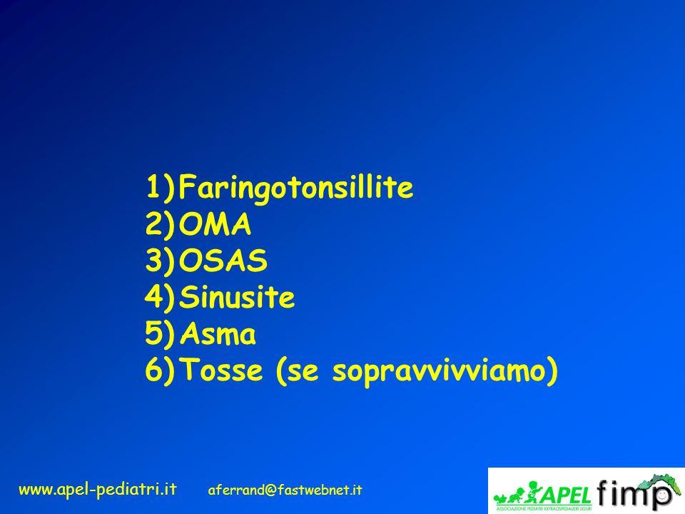Faringotonsillite OMA OSAS Sinusite Asma Tosse (se sopravvivviamo)