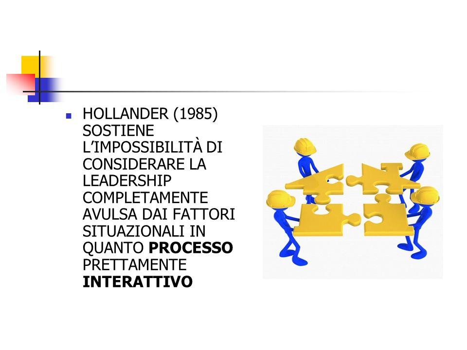 HOLLANDER (1985) SOSTIENE L'IMPOSSIBILITÀ DI CONSIDERARE LA LEADERSHIP COMPLETAMENTE AVULSA DAI FATTORI SITUAZIONALI IN QUANTO PROCESSO PRETTAMENTE INTERATTIVO