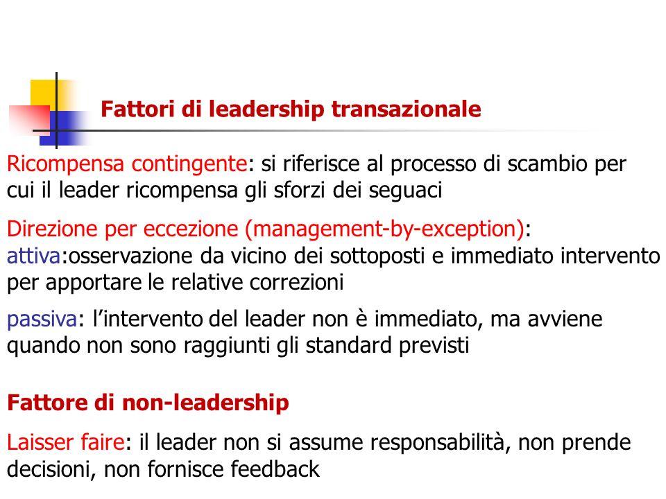 Fattori di leadership transazionale