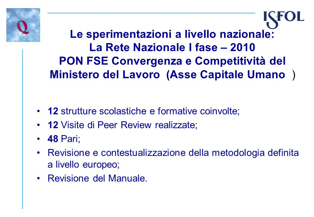 Le sperimentazioni a livello nazionale: La Rete Nazionale I fase – 2010 PON FSE Convergenza e Competitività del Ministero del Lavoro (Asse Capitale Umano )