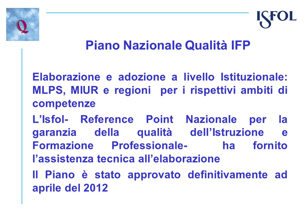 Piano Nazionale Qualità IFP