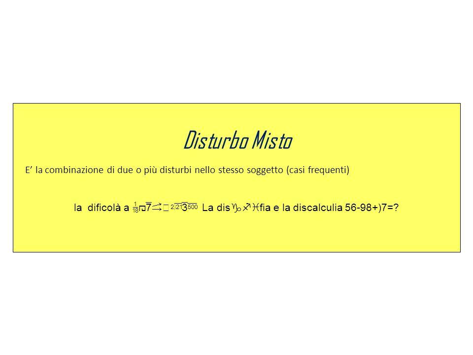 la dificolà a x5k-alio La disgfifia e la discalculia 56-98+)7=