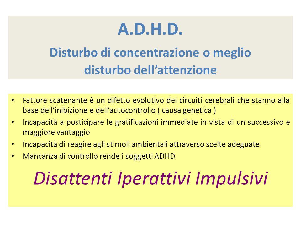 A.D.H.D. Disturbo di concentrazione o meglio disturbo dell'attenzione