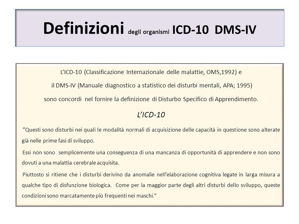 Definizioni degli organismi ICD-10 DMS-IV