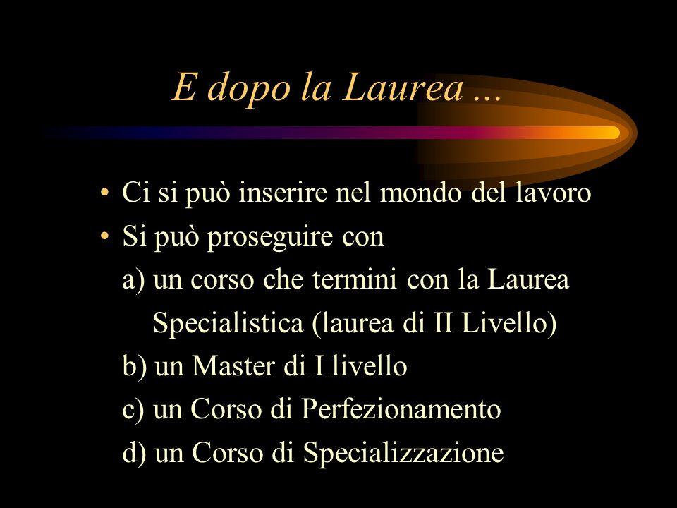 E dopo la Laurea ... Ci si può inserire nel mondo del lavoro