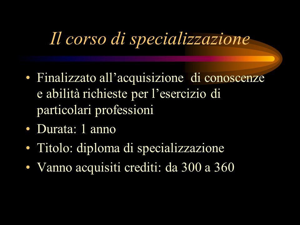 Il corso di specializzazione