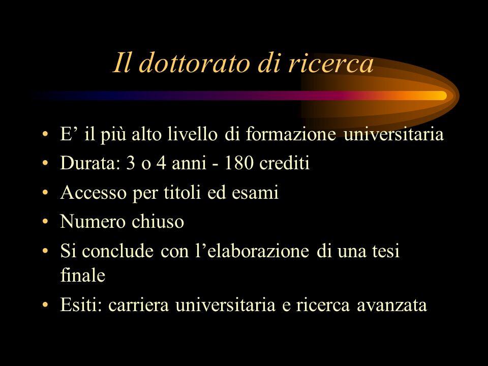 Il dottorato di ricerca