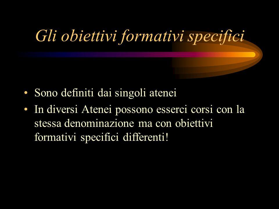 Gli obiettivi formativi specifici