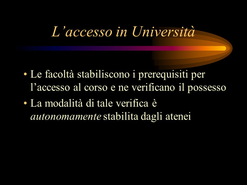 L'accesso in Università