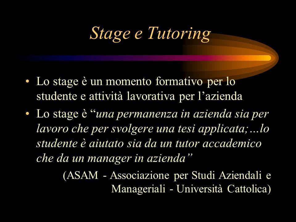Stage e Tutoring Lo stage è un momento formativo per lo studente e attività lavorativa per l'azienda.