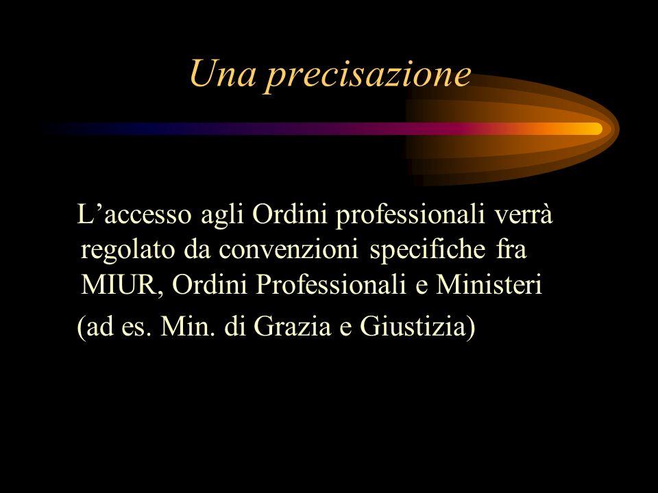 Una precisazione L'accesso agli Ordini professionali verrà regolato da convenzioni specifiche fra MIUR, Ordini Professionali e Ministeri.