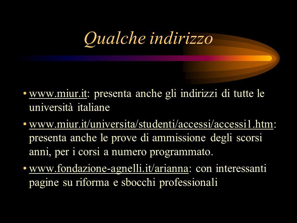 Qualche indirizzo www.miur.it: presenta anche gli indirizzi di tutte le università italiane.