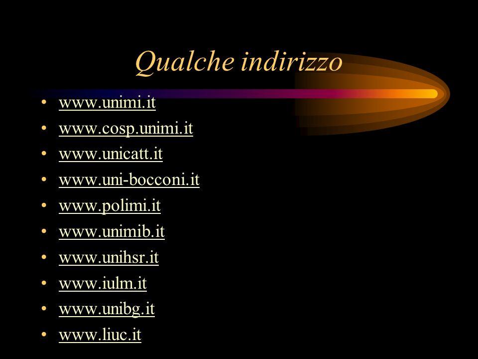 Qualche indirizzo www.unimi.it www.cosp.unimi.it www.unicatt.it